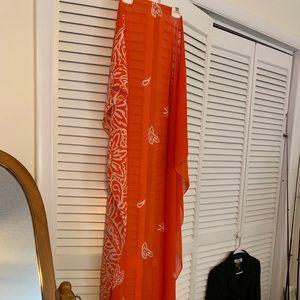 """Estée Lauder Orange Print Scarf Size 42""""x56"""""""